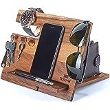 TESLYAR Natural Walnut Wood Phone Docking Station Hooks Key Holder Wallet Stand Watch Organizer Men Gift Husband Anniversary