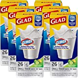 Glad Small Quick-Tie Trash Bags - OdorShield + Antimicrobial Protection 4 Gallon White Trash Bag, Scented - 26 Count, Pack of