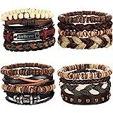 LOYALLOOK 8-34pcs Mens Leather Bracelet Wrap Cuff Bracelets with Hemp Cords Wood Beads Ethnic Tribal Believe Charm