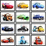 """Print A To Z - Cars Movie Poster, Cars Watercolor Wall Decor Prints, Lightning McQueen Poster, UNFRAMED(8""""x10"""" Set of 12 Wall"""