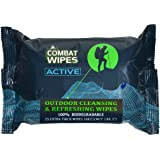 Combat Wipes ACTIVE Outdoor Wet Wipes   Extra Thick, Ultralight, Biodegradable, Body & Hand Cleansing/Refreshing Cloths for C