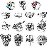 PANTIDE15 PcsVintagePunkRingsSet, Stainless Steel Gothic Alloy Biker AdjustableRings,Skeleton Skull Evil Eye Chinese D