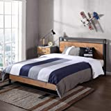 Zinus Ironline Queen Bed Frame with USB Charging Port and Headboard Shelf - Metal and Pine Wood Industrial Platform Bed