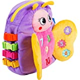 Buckle Toy - Blossom Butterfly Activity Backpack - Educational Learning Toy with Zippered Pouch for Storage - Great  Toddlers