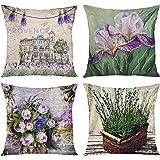 ArtSocket Set of 4 Throw Pillow Covers Watercolor Blossom Provence France Lavender Flower Summer Love Beautiful Green Iris De