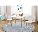 UTEX Kids Table with 2 Chairs Set for toddlers, boys, girls, 4-8 years old, White