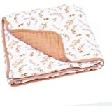 Parker Baby Muslin Blanket - 100% Soft Cotton Baby Quilt and Kids Blanket for Girls - Prairie Floral