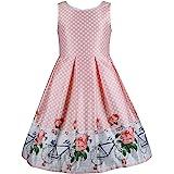 Emma Riley Girls Flower Dress Sleeveless Polka Dot Dress with Tie,Party/Wedding