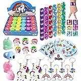 Unicorn Theme Party Favor For Kids-96Pcs Unicorn Tatoo-24Pcs Unicorn Stamper-27 Pcs Unicorn Rings Necklace Keychain-Unicorn B