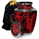 Crimson Rose Cremation Urns for Human Ashes Adult for Funeral, Burial, Columbarium or Home, Cremation Urns for Human Ashes Ad