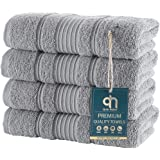 (Hand Towel -Set of 4, Silver Grey) - 4 Pack Hand Towels Set Premium Quality Luxury Turkish Cotton Absorbent and Super Soft -