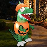 Joiedomi 6 ft Dinosaur Trick Or Treat Halloween Inflatable Yard Decoration with Build-in LEDs Inflatable for Halloween Party