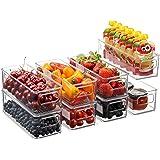 Set Of 8 Stackable Plastic Food Storage Bins - Refrigerator Organizer with Handles for Pantry, Fridge, Freezer, Kitchen, Coun