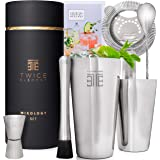 Twice Element® Cocktail Shaker Set | Boston Style Shaker Kit with: Elegant Gift Box, Storage Pouch, Recipe Book and All Essen