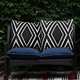 Adabana Outdoor Waterproof Boho Throw Pillow Covers Geometric Pillow Cases for Patio Garden Set of 2, 18 X 18 Inches Black