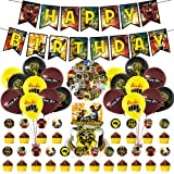 100 Pcs Cobra Kai Party Decorations, TV Show Cobra Kai Party Favor Supplies Includes Happy Birthday Banner, Balloons, Cake To