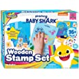Creative Kids Baby Shark Stamp Set 36 Piece Wooden Stamps Set Includes Ink Pads, Stickers, Markers, Picture Frames - Montesso