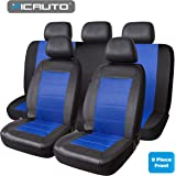 PIC AUTO Universal Fit Full Set Mesh & Leather Car Seat Covers (Blue)