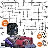 3'x4' Super Duty Bungee Cargo Net Stretches to 6'x8' for Oversized Rooftop Cargo Rack & Small Trucks | Narrow 3x3 Grid Holds