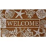 DII CAMZ11125 Indoor/Outdoor Natural Coir Easy Clean, Coir, Welcome Seashells, 18x30
