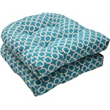Pillow Perfect Indoor/Outdoor Hockley Wicker Seat Cushion, Teal, Set of 2