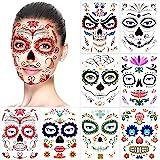 Halloween Temporary Face Tattoos (8Pack), Konsait Day of the Dead Sugar Skull Floral Black Skeleton Web Red Roses Full Face M