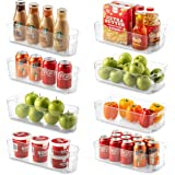 Set of 8 Refrigerator Organizer Bins - 4 Large and 4 Small Stackable Fridge Organizers for Freezer, Kitchen, Countertops, Cab