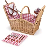 Picnic Time Piccadilly Willow Picnic Basket for Two People, with Plates, Wine Glasses, Cutlery, and Corkscrew - Red/White Pla