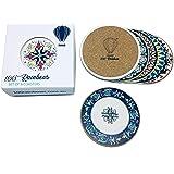 100 RAINBOWS Premium Absorbent Ceramic Coasters (Flora/Bohemian Design) - Set of 6 with Anti Scratch Cork Backing