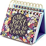"""bloom daily planners Undated Perpetual Desk Easel/Inspirational Standing Flip Calendar - (5.25"""" x 5.5"""") (The Best is Yet to C"""