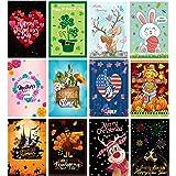 Garden Flags 12 Pack,Double Sided Seasonal Garden Flags for All Seasons and Holidays House Flag 12 x 18 Inch Burlap Small Gar