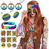 Adult Unisex Long Brown Hippie Costume Wig Set with Headband, Glasses, Necklace, Earrings, Pins and Tattos Halloween Wig for