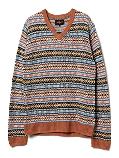Linen Coton Fair Isle V-neck Sweater 11-15-0817-048: Brique
