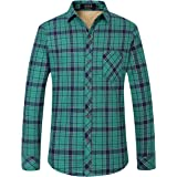 SSLR Men's Fleece Lining Checkered Slim Fit Casual Thermal Flannel Shirt