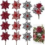 12 Pieces Christmas Buffalo Plaid Poinsettias Artificial Black White Plaid Poinsettia Flowers with Red Berries Red Black Chri