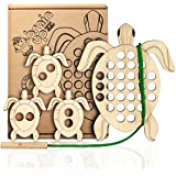 BrainUpToys Lacing Toy for Toddlers - Wooden Turtle with Lace – Baby Child Car Airplane Travel Toys – Fine Motor Skills - Mon