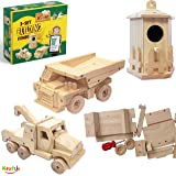 Kraftic Woodworking Building Kit for Kids, with 3 DIY Carpentry Wood Toy Projects- Tow Truck, Birdhouse and Dump Truck