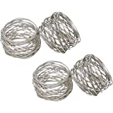 SKAVIJ Napkin Rings Set of 4 for Dinner Parties, Holidays, Dining Table Decoration Handmade Metal Napkin Holder Silver