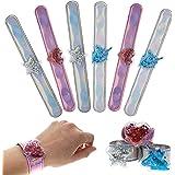 FROG SAC 6 Shaker Charm Slap Bracelets, Unicorn Heart Star Glitter Slap Bracelet Set