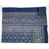 Blue Kantha Quilt King Size Hand Stitch Kantha Ajrakh Bed-cover Indian Bohemian Kantha Ajrakh Quilt