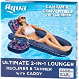 Aqua Campania Ultimate 2 in 1 Recliner & Tanner Pool Lounger with Adjustable Backrest and Caddy, Inflatable Pool Float, Navy