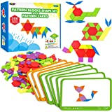 300 PCS Wooden Tangram Jigsaw for Kids with 24 Double-Sided Design Cards(48 Patterns) and Storage Bag in Gift Box,Fun Montess