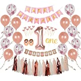 Ellia First Birthday Girl Decorations, 1st Smash Cake Fun Party Set, Rose Gold Pink Decor - One Topper, Confetti Balloons, Bd