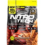 MuscleTech NitroTech Protein Powder Plus Muscle Builder, 100% Whey Protein with Whey Isolate, Milk Chocolate, 103 Servings (1