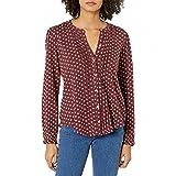 Lucky Brand Women's Long Sleeve Button Up Printed Pintuck Blouse