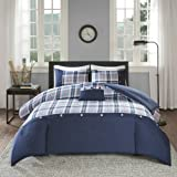 Comfort Spaces All Season Cozy Comforter Set, Modern Casual Bedding Set, Active Lifestyle Boys Bedroom Décor, Harvey Blue Pla
