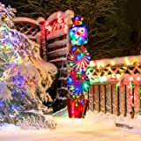 Christmas Snowman Yard Signs Stakes Decorations with String Lights 54 Inch Garden Lawn Stakes Xmas Snowman Giant Signs for Ho