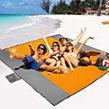 POPCHOSE Sandfree Beach Blanket, 87 X73 inches Sandless Beach Mat for 4 Adults, Waterproof Pocket Picnic Blanket with 6 Stake