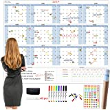 """Large Dry Erase Wall Calendar 5 Feet- 48""""x60"""" 2021 Undated Yearly Planner for Home, Office, School Projects - Jumbo Erasable"""