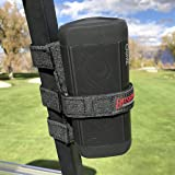Bushwhacker Portable Speaker Mount for Golf Cart Railing - Adjustable Strap Fits Most Bluetooth Wireless Speakers Attachment